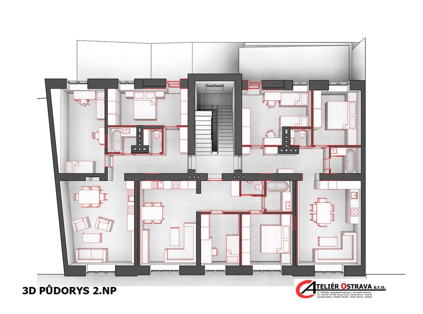 půdorys projektu přestavby bytového domu