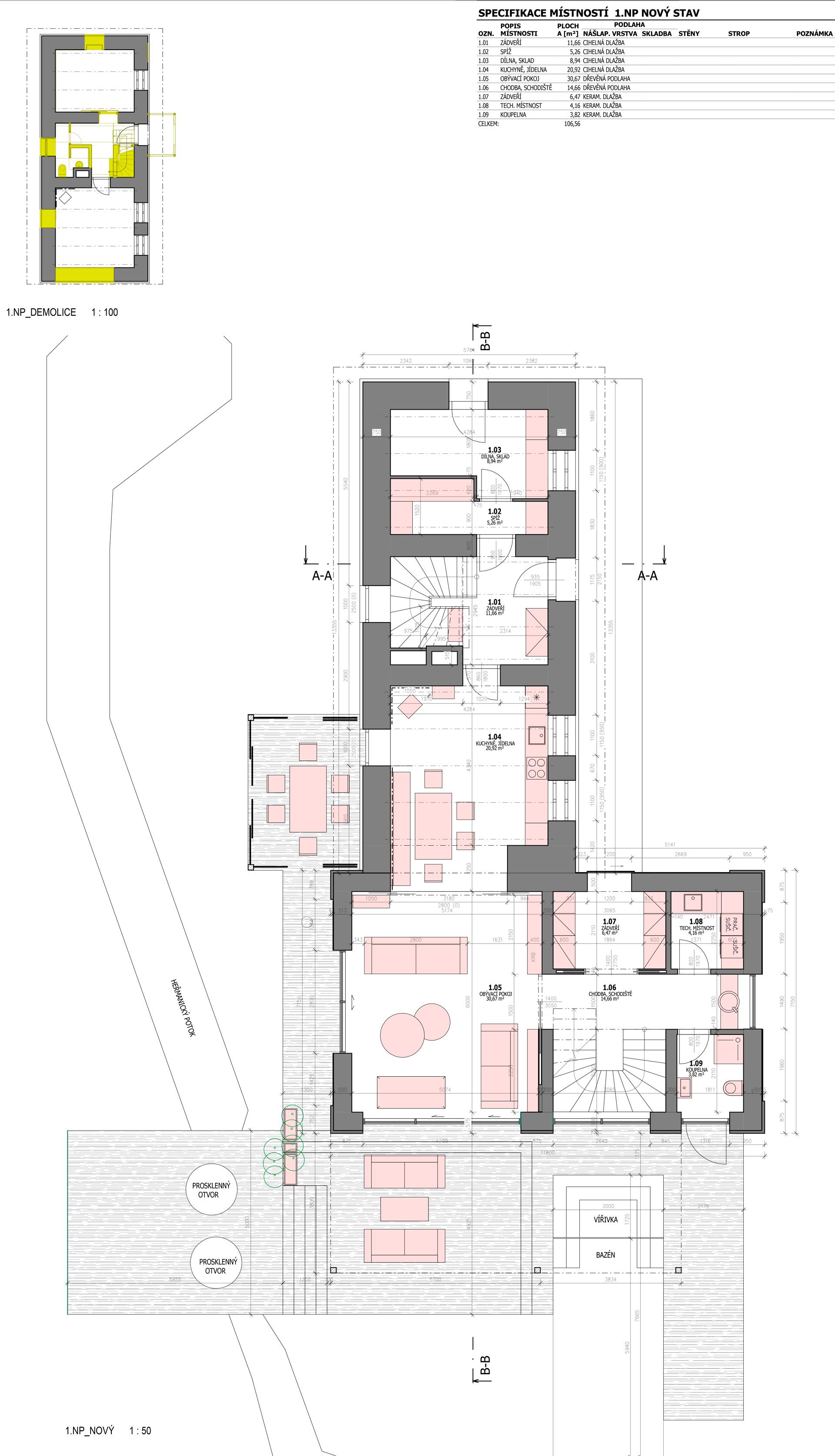 Půdorys  rodinného domu 1.NP ve fázi Studie projektu