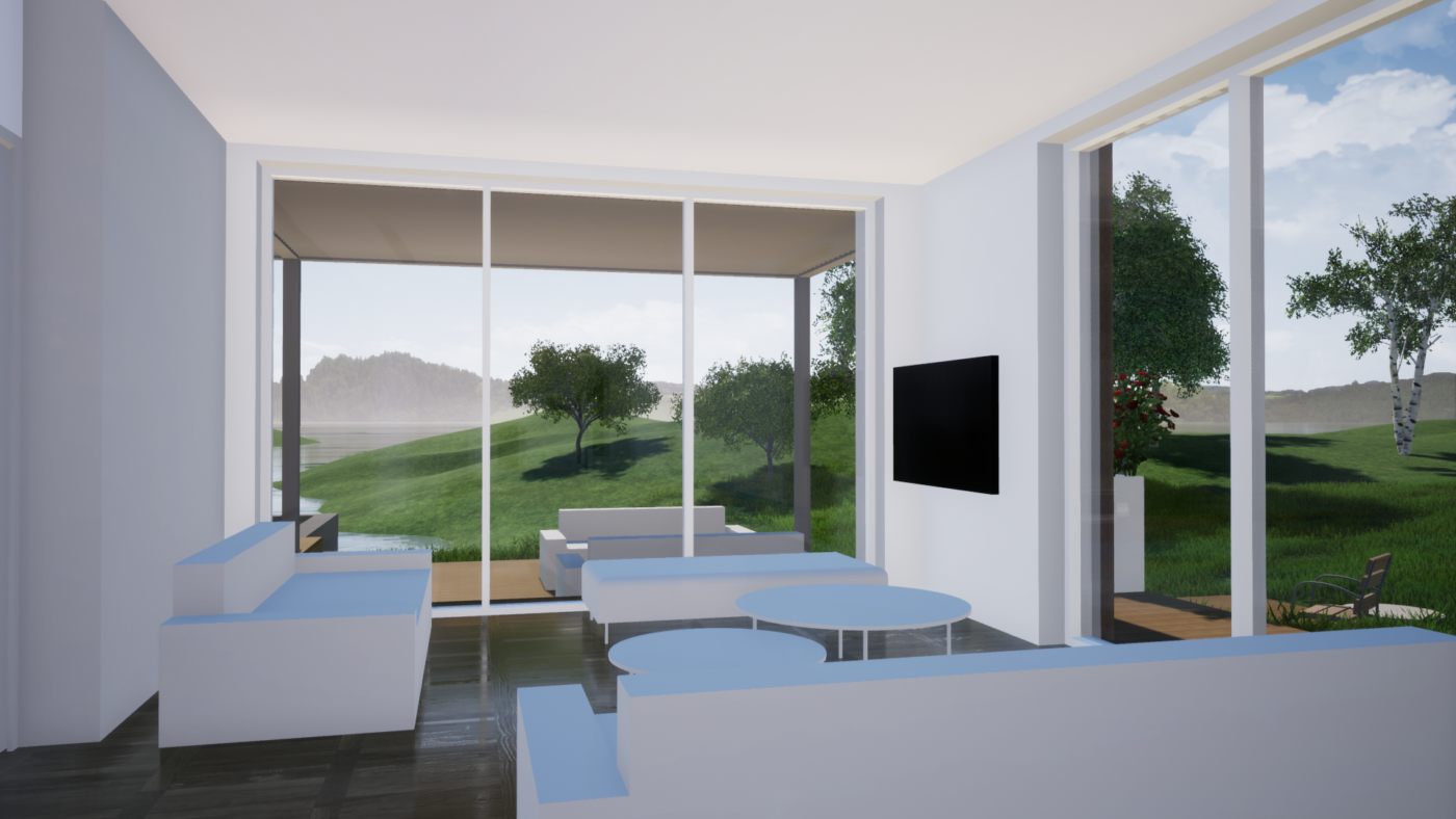 Interiér stavby ve virtuální realitě.
