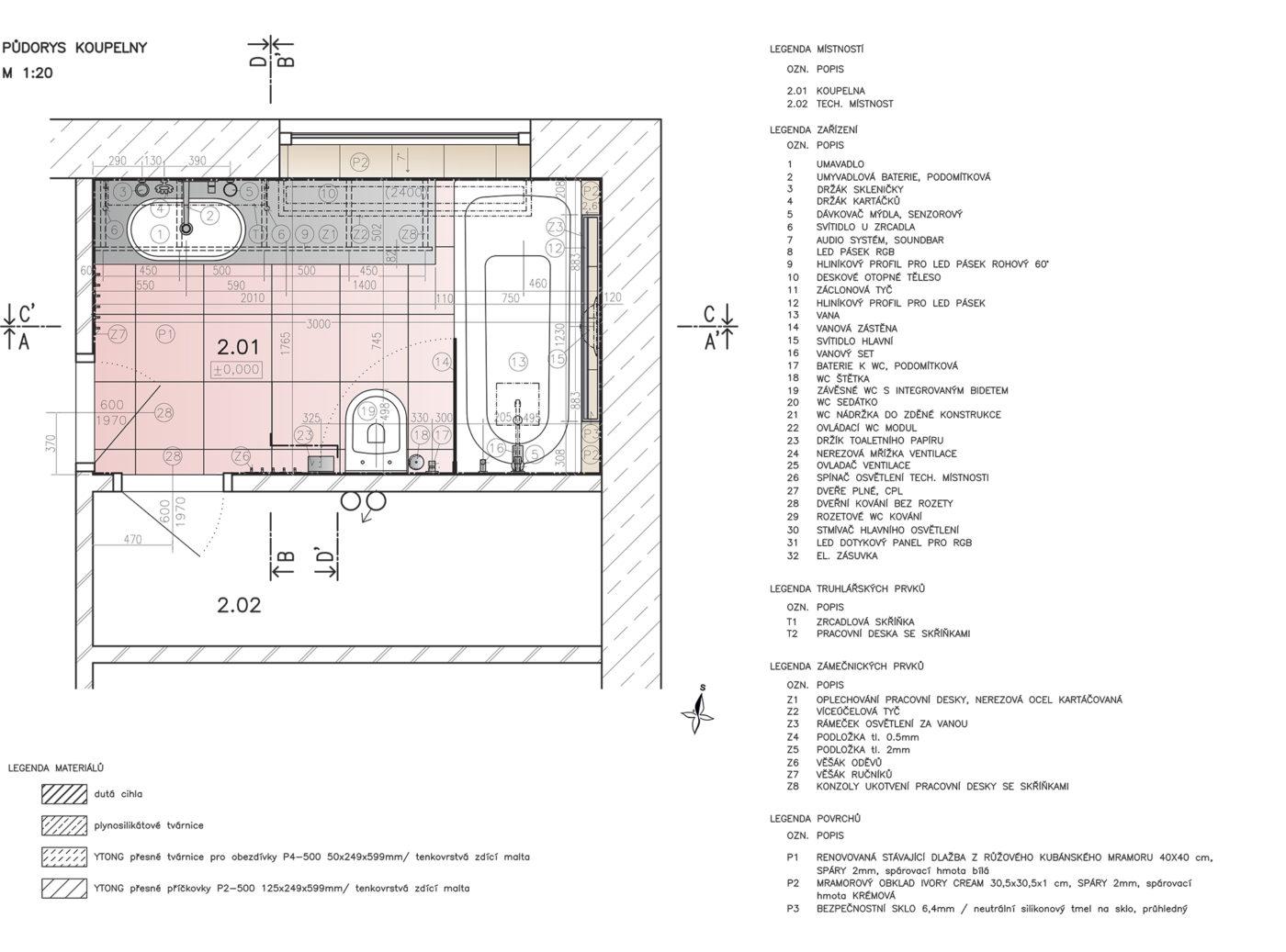 Půdorys realizační projekt interiéru.
