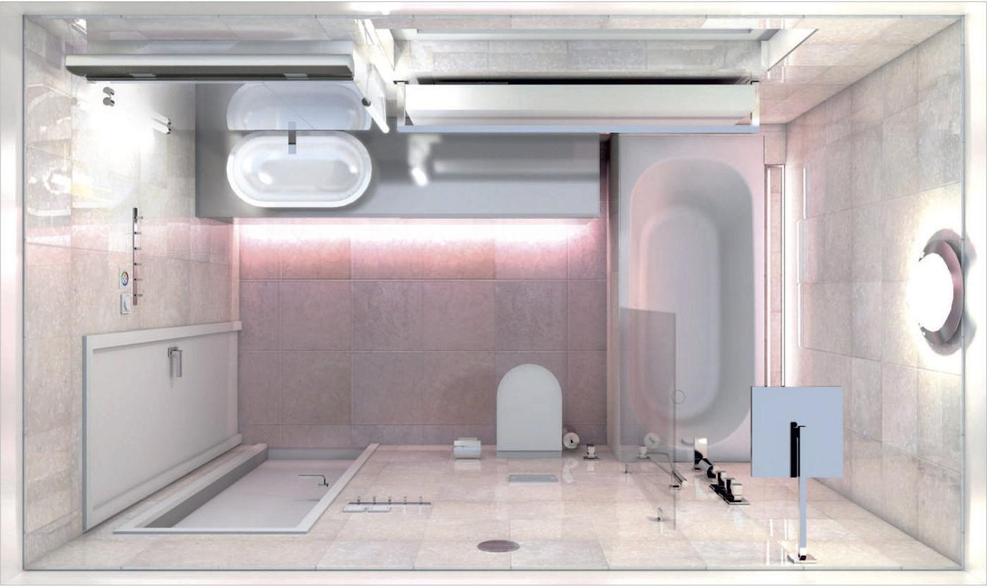Rekonstrukce koupelny pohled shora - vizualizace