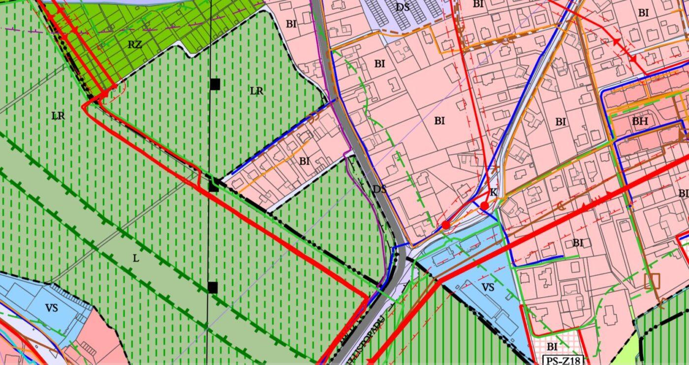 pozemky v koordinačním výkrese územního plánu