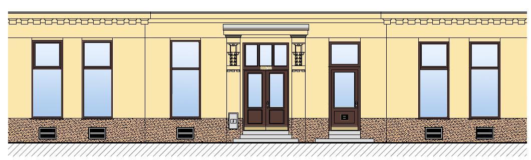 Pohled na fasádu kulturní památky Přívozská 899/22 v Moravské Ostravě - návrh obnovy